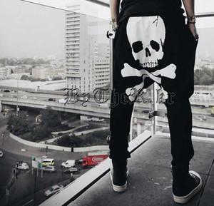 Roupas masculinas Moda Crânio Impressão Calças Soltas Dos Homens Corredores Pantalones Hombre Hip Hop Dança Harem Gota Virilha Calças Dos Homens