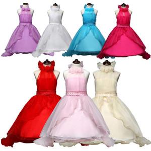 2015 meninas chiffon princesa arrastando vestidos crianças menina halter tutu vestido beadings no cinto 5 cores lace party dress J070206 # DHL