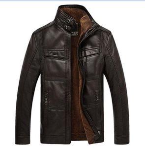 Мужчины кожаная куртка овчины мужской шубе кожаные куртки флис внутренний толстый тулуп для мужчин плюс размер