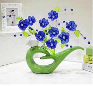 현대 운이 좋은 둥근 새 11 모양 홈 장식을위한 도자기 꽃병 탁상용이 pirce는 화병과 꽃을 함께 모으기위한 것입니다.