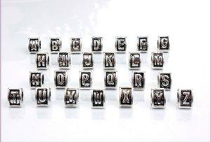 2016 nova letra A-Z coração triângulo preto esmalte Big Hole Beads Fit Charme Europeu Pulseira Jóias DIY 9.5X7mm