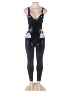 Al por mayor-RT80270 Faux leather negro sexy body completo ahueca hacia fuera los hombres eróticos monos sin mangas sexy clubwear jumpsuit mono