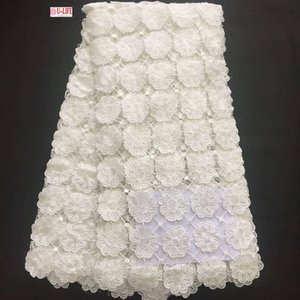 Pizzo africano vendita calda 2017 nuovo arrivo pianura bianco abiti da sposa africano solubile in acqua guipure tessuto del merletto di alta qualità con pizzo W2-361