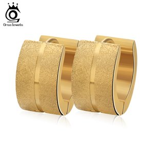 Mattierte Oberfläche Hoop Ohrringe hohe Quliaty 316L Edelstahl Anweisung Ohrringe trendige Männer Frauen Schmuck GTE05