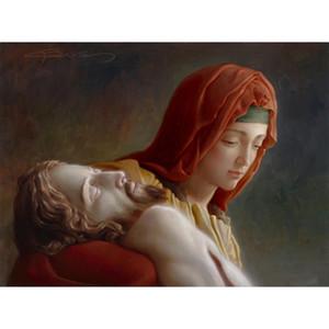 Figura dipinti ad olio Cristo Ritratto The Pieta Handmade Joseph Brickey Pittura su tela Living room decor