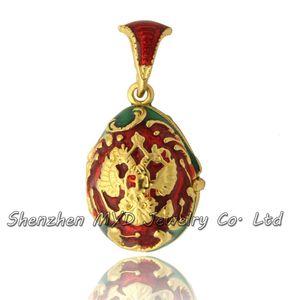 Venta al por mayor de joyería de moda mujer mujer ruso escudo de Pascua Huevo Faberge colgante collar medallón mano esmaltada regalos del Día de la Madre
