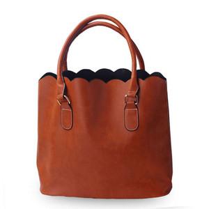 ROYALBLANKS personalizado Atacado couro do falso Scalloped Casual Tote da bolsa com duas alças pode ser bordado frete grátis