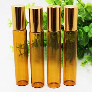 Amber Aromatherapy Glass Ball Roll-On Bottles - 10ml Aceite esencial / Perfume Travel Roll-On botellas 200pcs / lot por el envío libre de DHL