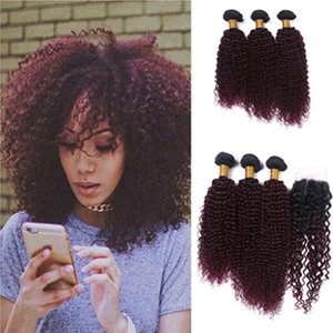 New Arrival Wine Red # 1B 99J Kinky Curly Hair Bundles с кружевным закрытием Burgundy Ombre Kinky Curly Hair With Closure 4Pcs / Lot