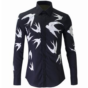 Wholesale- New Black Shirt Men Chemise Homme 2016  Fashion Swallow Printed Slim Fit Long Sleeve Mens Dress Shirts Casual Cotton Shirt