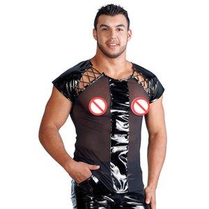 Camiseta Disfraces de Discoteca DS Sexy Hombres Camiseta Transparente de Malla Tops Camiseta Lencería Sexy Disfraz de Cuero para Hombre Tanques Exóticos