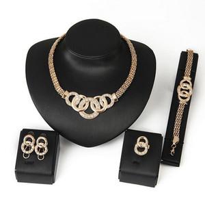 Economici Bigiotteria 18K placcato oro moda nigeriano Matrimonio Beads Africani Set di gioielli in cristallo Collana girocollo Imposta