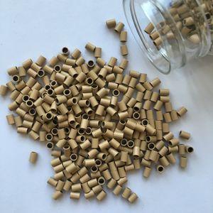 Anillo de cobre plano para Stick I-tip Hair Euro Locks Micro Links Micro Anillos (1000pcs / botella) 3.0 * 2.4 * 4.0mm Color rubio oscuro
