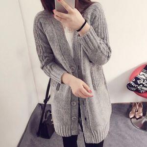 Moda Crochet Longo Cardigan Mulheres 2017 Outono Inverno Quente Blusas Grossas Sleve V Pescoço Bolso Casaco Outwear Tamanho Livre