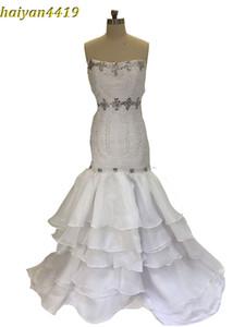2017 nova sexy sereia vestidos de casamento querida tribunal trem de organza frisado babados hierárquico personalizado plus size formal vestidos de noiva