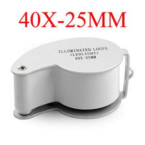 Lupa iluminada MG21011 Jóias Lupas Lupas 2 LED Light 40x 25mm Ampliação Mini Lupa Microscópio Jeweller + Retail Box
