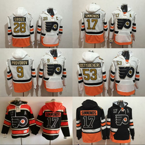 50th Anniversary Patch Philadelphia Flyers Hoodie 17 Wayne Simmonds 28 Claude Giroux 53 Shayne Gostisbehere 9 Ivan Provorov Sweatshirt
