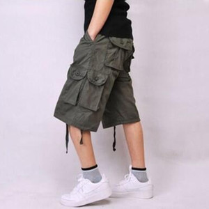 Wholesale-2016 Mens Casual Cargo Bermuda Shorts Fashion Outdoor Cotton Loose Running Shorts Men Summer Sport Army Short Pants Plus Size