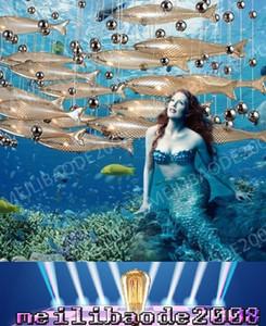 BE33 Moderne LED Verre Cognac Couleur Flying Fish Lustres Salle À Manger Bar Pendentif Lumières Cristal Plafond Lampes Pour Salon Hall Hôtel