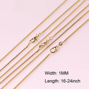 Fashion 1mm Box Chain 18K Gold Plated Chains Wholesale Necklace Chains Jewelry for Children Boy Girls Womens Men Free Shipping