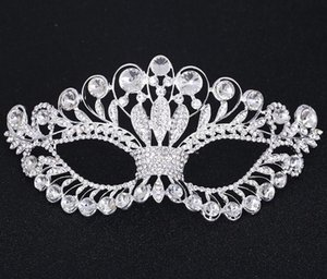Máscara de Cristal Tono de Plata Venetian Bridal Masquerade Rhinestone Crystal Eye Mask Halloween Disfraz Ball Party Mask FJ21