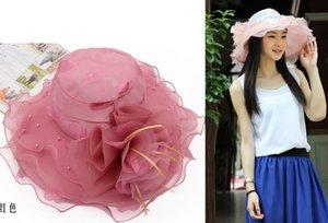 여자 매혹자 Oranza 레이스 꽃 넓은 챙 모자 켄터키 더비 교회 저녁 드레스 모자 칵테일 파티 신부 웨딩 캡 비치 태양 모자