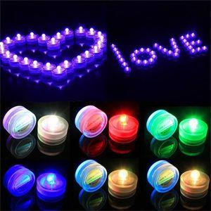 Hotselling 10pcs / lot Belle romantique étanche LED submersible Lumignon vacances anniversaire de mariage décoration multicolore Bougie LED