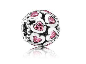 S925 Sterling Silver Charms Perles deux lignes Sweet Heart Beads Micro Pave Rose Perles Pendentif DIY Bracelet Collier Bijoux Accessoires
