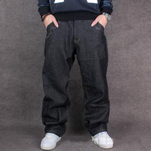 Atacado-2016 Homens Hip Hop Baggy Jeans Para Street Dancing Skate Solto Fit Alta Qualidade Com Bordado Plus Size 30 To 46 Hot