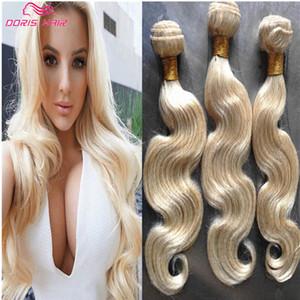 fasci del tessuto dei capelli remy di colore biondo 613 di lusso I peli brasiliani indiani delle trecce dei capelli umani Wave colorato tingono liberamente DHL