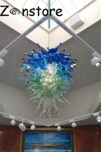 해안 크루즈 Chandelier- 100 % 손 불어 유리 샹들리에 클리어 그린 블루 크리스탈 LED 광원 무라노 유리 샹들리에
