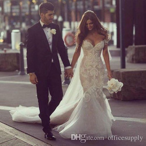 2018 Gorgeous Steven Khalil Dubai Vestidos De Noiva Árabe Sereia Fora Do Ombro Comprimento Total Sem Encosto De Renda Vestidos de Noiva