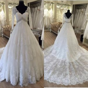 Exquisite 2017 Lace Long Sleeves Wedding Dresses Modest V Neck Beaded Sash Chapel Train Bridal Gowns Custom Made Plus Size EN8173