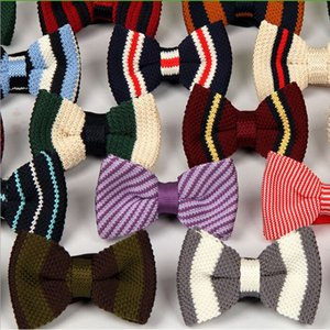 2016 HOT Double Knitted Bowtie 40 Colors Children's bowknot Adjustable Bowties for Father's Day tie Christmas Gift Free TNT Fedex UPS
