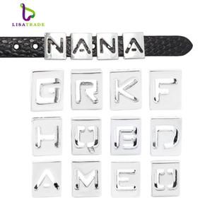 130pcs 8mm Hollow Letters Alfabeto inglese A-Z fai da te Slide lettera Charm braccialetto adatto LSSL010 * 130