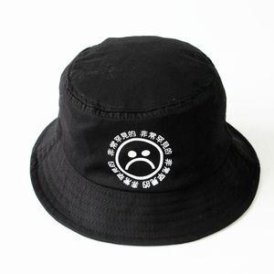 Gros-Livraison gratuite Ne pas se fanent coton respirant noir impression hip hop casquette triste garçons panama bonnet seaux hommes bob boonie chapeau de pêche