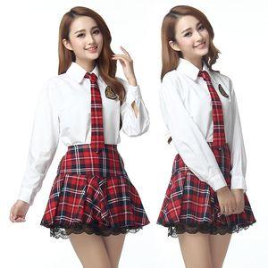 más el tamaño 3XXXL ropa interior de la muchacha de la escuela de cosplay de manga larga disfraces sexy estudiante sexy corbata de gran tamaño sexy lenceria top mujeres