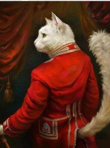 Kırmızı Elbise içinde kedi, Orijinal Handpainted Hayvan Sanat Yağlıboya Yüksek Kalite Tuval Üzerine, özelleştirilmiş boyutta kabul