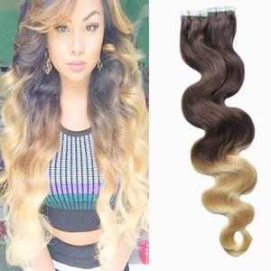 Ombre 머리카락 확장 브라질 머리카락 확장에 브라질 바디 웨이브 테이프 2/613 금발 적용 테이프 접착 성 피부 Weft Hair 100g 40pcs