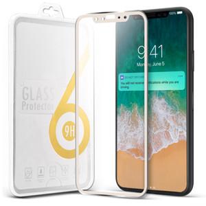 Rim Metall Displayschutzfolie für iPhone X iPhone 8/8 plus gehärtetes Glas Schutzfolie 9H Härte voll gekrümmtes Glas für iPhone 7 6S in Box