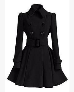Gabardina de mujer 2016 Nuevo vestido largo de abrigo de lana Moda Solapa de doble botonadura Chaqueta de lana cálida de invierno largo de lujo Ropa de abrigo