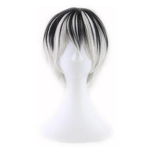 WoodFestival hombres pelucas naturales a prueba de calor hombres anime peluca corta pelo lacio dos tonos pelucas sintéticas en blanco y negro fibra cosplay