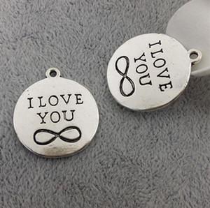 15 unids Bronce Antiguo Plateado I Love You Infinity Charms Colgantes para la Joyería de La Joyería Que Hace DIY Collar Artesanía 25x25mm