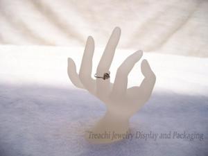 Anel stand acrílico anel de exibição de jóias mostrar Forma OK Mão Titular Branco