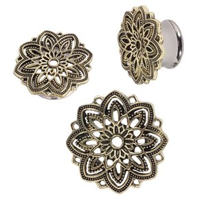 Stainless Steel Ear Plugs Hollow Expander Stretcher Tunnels Piercing Gauges 5mm - 20mm Flower Body Jewelry Flesh Tunnel