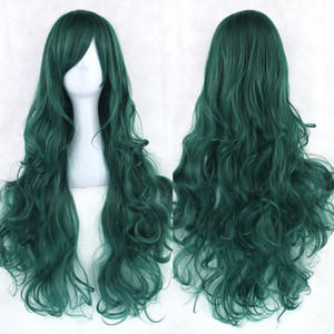 hanzi_beauty neue 20colors 80cm langes lockiges Haar-Grün Cosplay Perücken hitzebeständiges synthetisches Haar-Zusatz-Partei-schwarze Perücke für Frauen