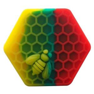 Design unico! 5pcs / lot ape esagonale del silicone Contenitore Vasi Container silicone Contenitore Per Olio Crumble Miele Cera silicone Vasi Dab