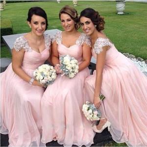 2016 긴 신부 들러리 드레스 레이스 아플리케 파란색 캡 슬리브 핑크 시폰 긴 하녀 명예 드레스