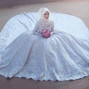 Бальное платье с длинным рукавом высоким горлом White Lace мусульманская Плюс Размер Свадебные платья Женщины 2021 Свадебные платья