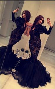 Use 2019 Nueva Yousef vestidos de noche del cordón Aljasmi mangas largas Apliques Beada sirena formal árabe Dubai Negro Partido Prom Vestidos Vestidos